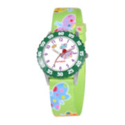 Red Balloon Kids Time Teacher Butterfly Print Fabric Strap Watch