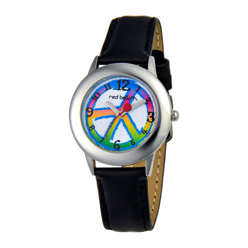 Red Balloon Kids Peace Black Leather Strap Watch