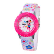 Disney Minnie Mouse Kids Time Teacher Print Fabric Strap Watch