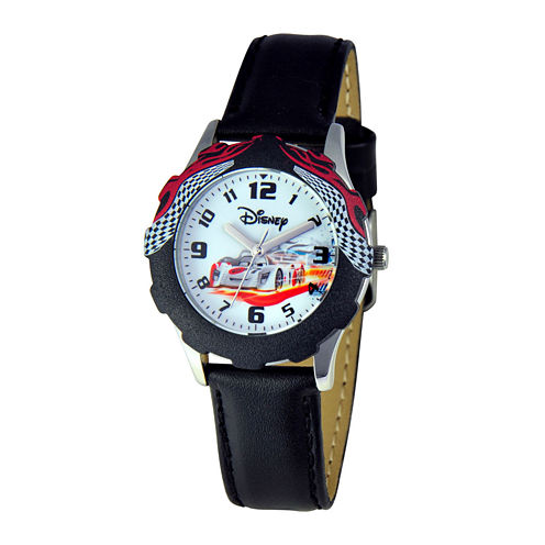 Disney Cars Kids Black Leather Strap Watch
