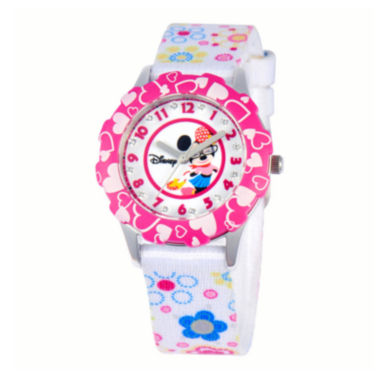 jcpenney.com | Disney Minnie Mouse Kids Crystal-Accent Print Fabric Strap Watch