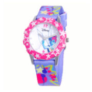 Disney Tinker Bell Kids Crystal-Accent Print Fabric Strap Watch