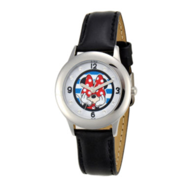 jcpenney.com | Disney Minnie Mouse Kids Crystal-Accent Black Leather Strap Watch