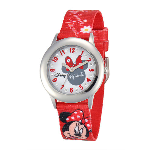 Disney Minnie Mouse Kids Crystal-Accent Print Red Fabric Strap Watch