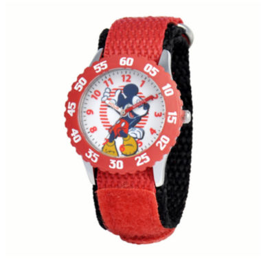 jcpenney.com | Disney Mickey Mouse® Kids Time Teacher Red Nylon Fast Strap Watch