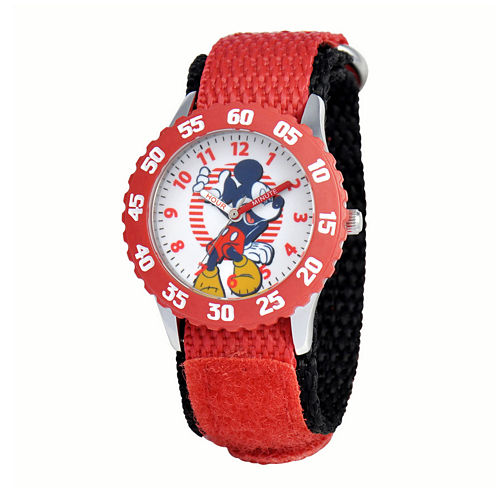 Disney Mickey Mouse® Kids Time Teacher Red Nylon Fast Strap Watch
