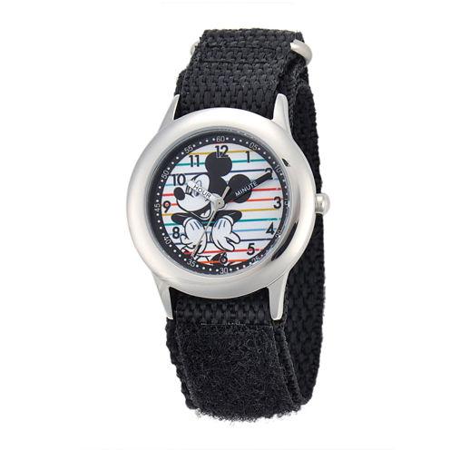 Disney Mickey Mouse® Kids Time Teacher Black Nylon Fast Strap Watch