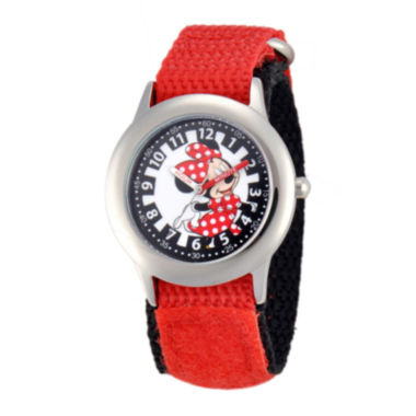 jcpenney.com | Disney Minnie Mouse Kids Time Teacher Red Nylon Fast Strap Watch