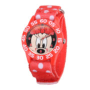 Disney Minnie Mouse Kids Time Teacher Print Nylon Fast Strap Watch