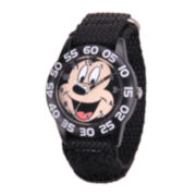 Disney Mickey Mouse® Kids Time Teacher Black Nylon Fast Strap Watch