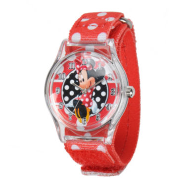 jcpenney.com | Disney Minnie Mouse Kids Red Nylon Fast Strap Watch