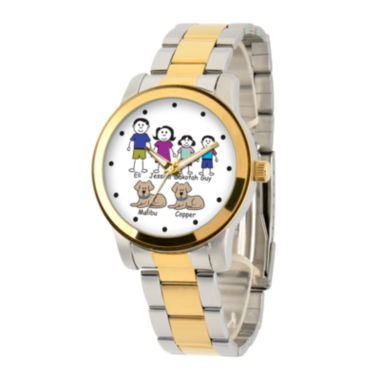jcpenney.com | Personalized Stick Figure Family Two-Tone Stainless Steel Watch
