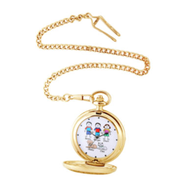 jcpenney.com | Personalized Stick Figure Family Gold-Tone Pocket Watch