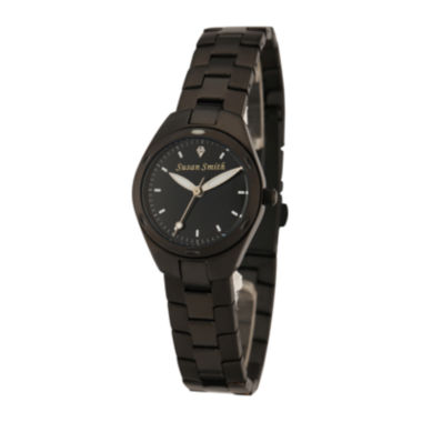 jcpenney.com | Personalized Dial Womens Black Stainless Steel Bracelet Watch