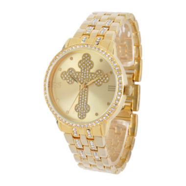 jcpenney.com | Personalized Crystal-Accent Gold-Tone Cross Watch