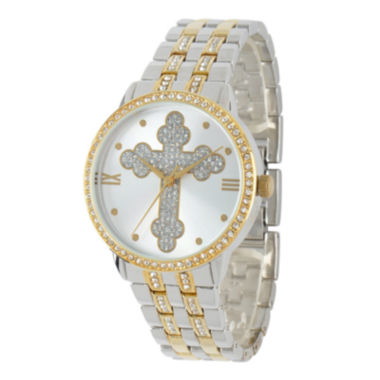 jcpenney.com | Personalized Crystal-Accent Two-Tone Cross Watch