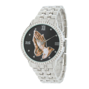 jcpenney.com | Personalized Crystal-Accent Silver-Tone Praying Hands Watch