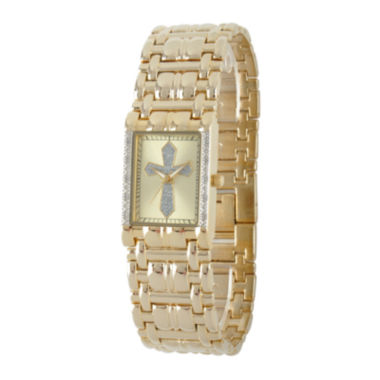 jcpenney.com | Personalized Mens Diamond-Accent Rectangular Gold-Tone Cross Watch