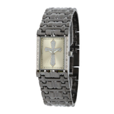 jcpenney.com | Personalized Mens Diamond-Accent Rectangular Black Cross Watch