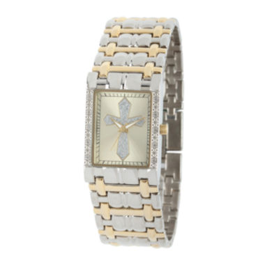 jcpenney.com | Personalized Mens Diamond-Accent Rectangular Two-Tone Cross Watch