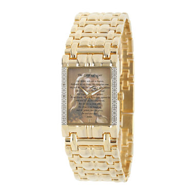 mens gold jesus bracelet watch jcpenney com personalized mens diamond accent gold tone the lord s prayer watch