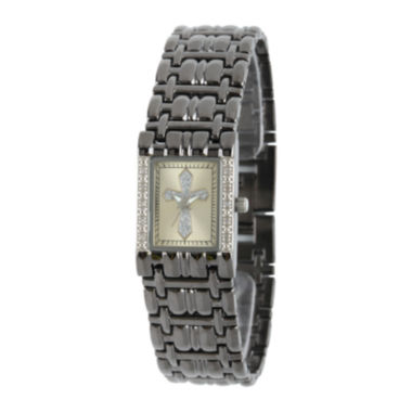 jcpenney.com | Personalized Womens Diamond-Accent Rectangular Black Cross Bracelet Watch