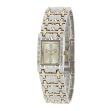 jcpenney.com | Personalized Womens Diamond-Accent Rectangular Two-Tone Cross Bracelet Watch