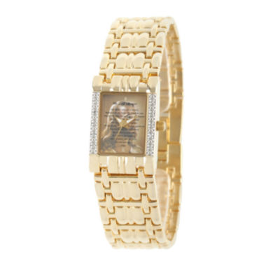 jcpenney.com | Personalized Womens Diamond-Accent Gold-Tone The Lord's Prayer Bracelet Watch
