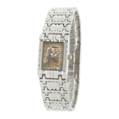 jcpenney.com | Personalized Womens Diamond-Accent Silver-Tone The Lord's Prayer Bracelet Watch