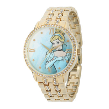 jcpenney.com | Disney Cinderella Womens Crystal-Accent Gold-Tone Bracelet Watch