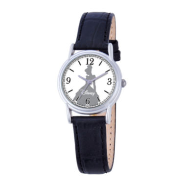 jcpenney.com | Disney Cinderella Womens Black Leather Strap Watch
