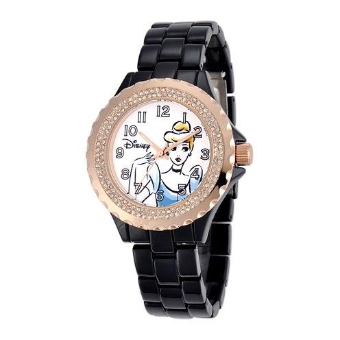 Disney Cinderella Womens Crystal-Accent Black Bracelet Watch