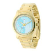 Disney Cinderella Womens Gold-Tone Stainless Steel Bracelet Watch