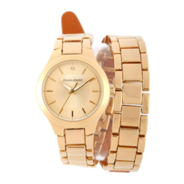 jcpenney.com | Personalized Dial Womens Diamond-Accent Gold-Tone Wrap Bracelet Watch