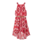 by&by Girl Tribal-Print High-Low Dress - Girls 7-16
