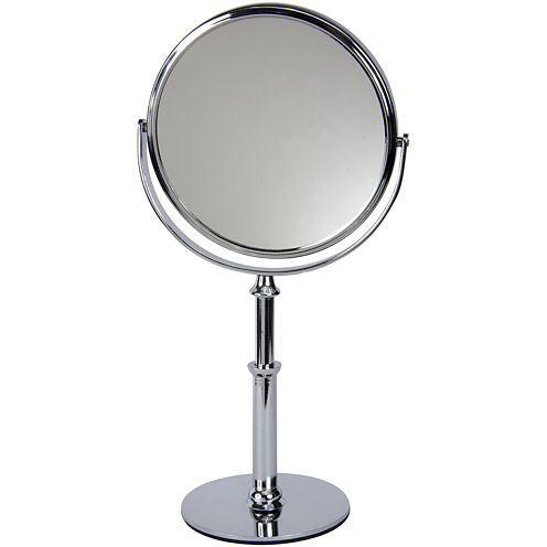 """Harry D. Koenig 10x Magnifying 6"""" Chrome Stand Mirror"""