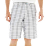 Burnside® Plaid Microfiber Cargo Shorts