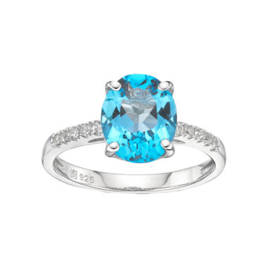 jcpenney.com | Sterling Silver Oval Blue Topaz & White Sapphire Ring