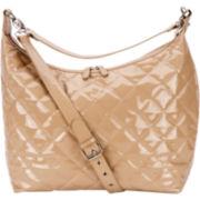 JP Lizzy Caramel Patent Hobo Diaper Bag