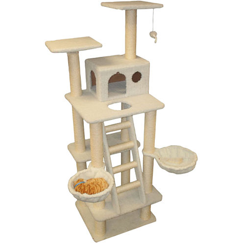 """Majestic Pet 72"""" Bungalow Cat Tree with Stairs"""
