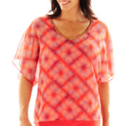 Lark Lane® Mosaic Tiles Dolman-Sleeve V-Neck Print Top