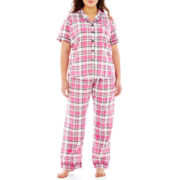 Insomniax® Short-Sleeve Shirt and Pants Pajama Set - Plus