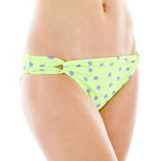 Arizona Polka Dot Loop-Tab Hipster Swim Bottoms  - Juniors
