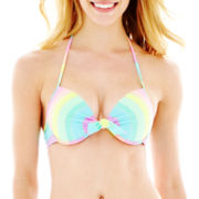 Arizona Striped Underwire Pushup Bra Swim Top - Juniors