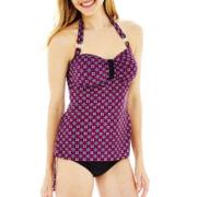 St. John's Bay® Geo Print Bandeau Halterkini Swim Top