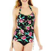 St. John's Bay® Floral Print Bandeau Halterkini Swim Top