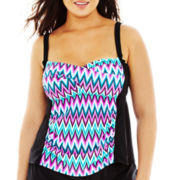 Sonria Zigzag Print Shirred Tankini Swim Top - Plus