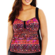 Delta Burke® Mayan Mosaic Framed Tankini Swim Top - Plus