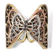 Decree® Tri-Tone Casted Butterfly Stretch Ring