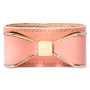 Decree® Peach Faux Leather Bracelet with Casted Bow